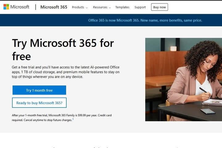 Microsoft 365 free trial screenshot
