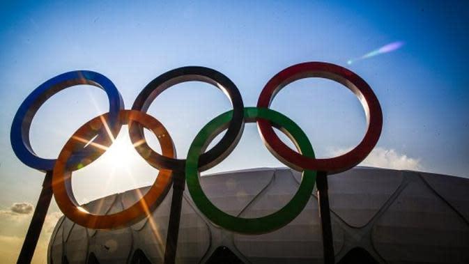 Logo Olimpiade. (AFP/Raphael Alves)