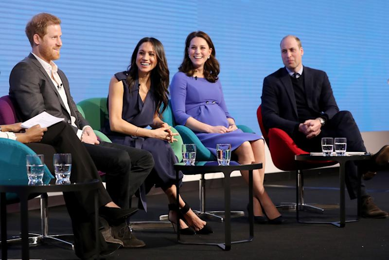 Prince Harry, Meghan Markle, Kate Middleton, Duchess of Cambridge and Prince William, Duke of Cambridge attend the first annual Royal Foundation Forum on February 28, 2018 in London.
