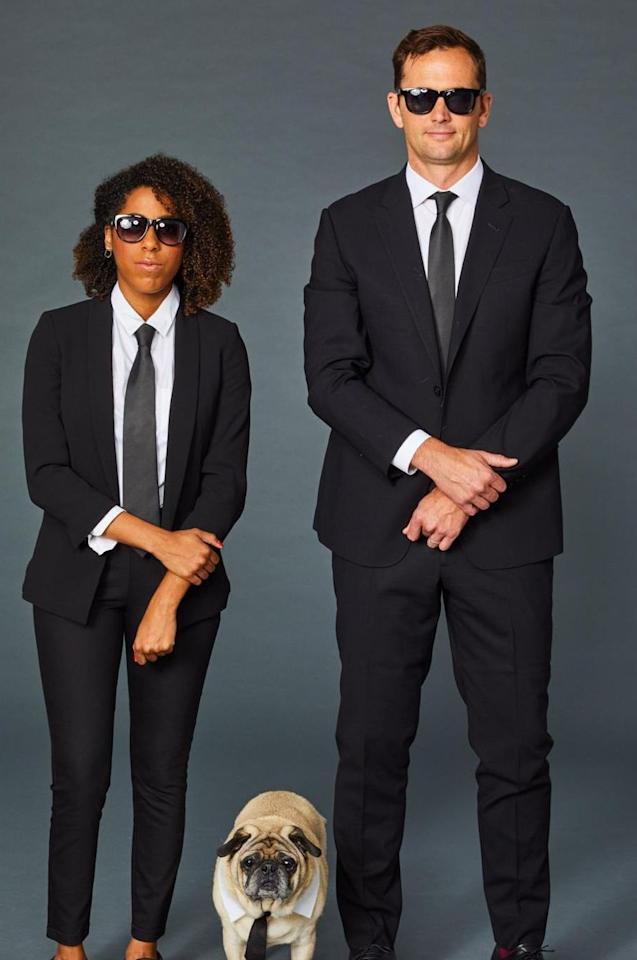 <p>You probably won't be able to bring your dog into work to complete this costume (unfortunately), but still, pairing some sunglasses with your best suit makes a perfect <em>Men in Black</em> costume.</p>