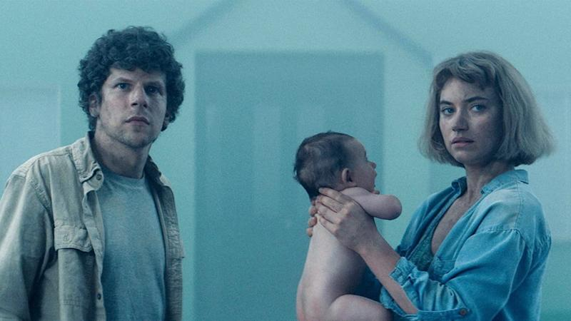 Screen grab of Jesse Eisenberg and Imogen Poots from Vivarium
