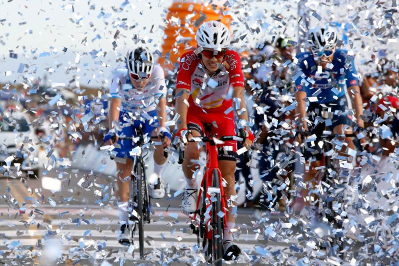 Guillaume Martin on the Alto Colorado at the Vuelta a San Juan.