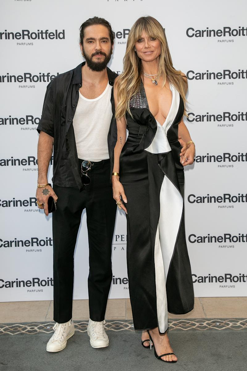 "Tom Kaulitz and Heidi Klum attend the Carine Roitfeld Parfums ""7 lovers"" : Cocktail At The Peninsula Hotel In Paris on July 01, 2019 in Paris"
