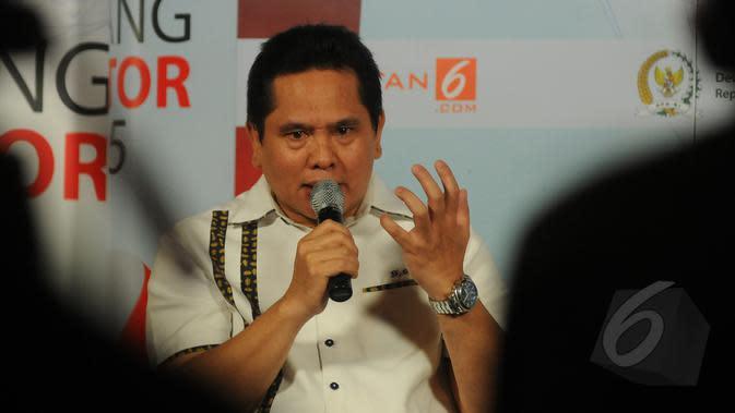Wakil Ketua Umum Kamar Dagang Industri (Kadin) DKI Jakarta, Sarman Simanjorang saat menjadi pembicara dalam diskusi bincang senator 2015