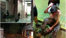 修例風波:上水追思牆爆衝突 長髮男遭爆樽披血