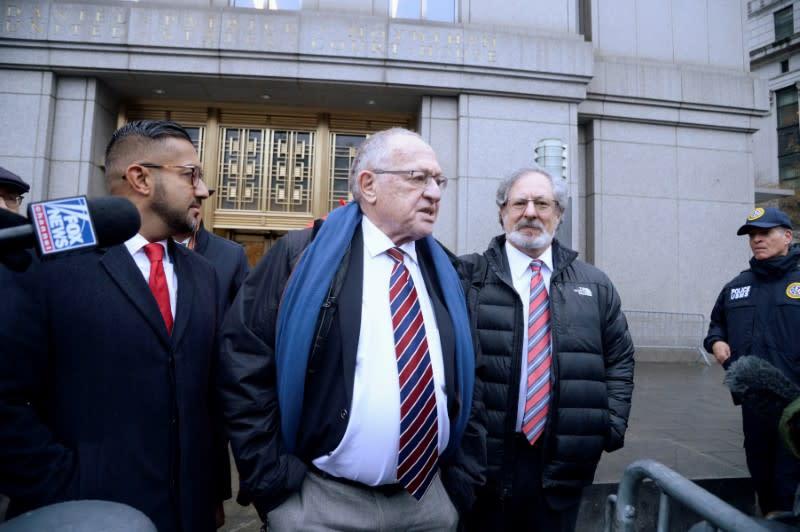 Alan Dershowitz exits the Manhattan Federal Court in New York