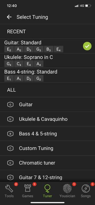 GuitarTuna select instrument