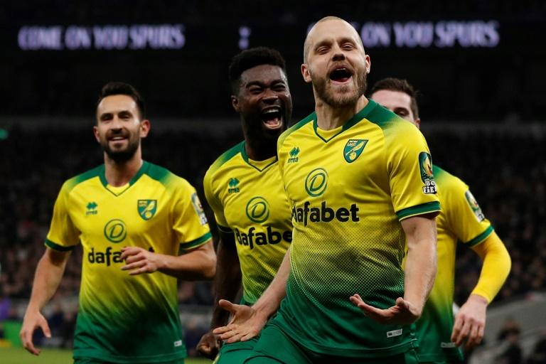 Pukki penalty: Teemu Pukki (2nd right) celebrates his equaliser for Norwich