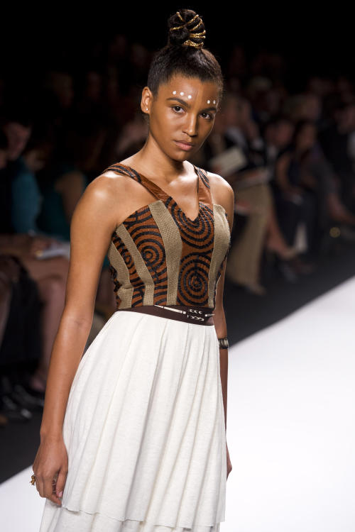 Contestant Gunnar Deatherage's designs are modeled at the Project Runway finale fashion show during Fashion Week on Friday, Sept. 7, 2012 in New York. (Photo by Charles Sykes/Invision/AP Images)