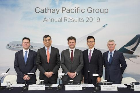 Cathay Pacific's senior management team (left to right): Chief Financial Officer Martin Murray, Chief Executive Officer Augustus Tang, Chairman Patrick Healy, Chief Customer and Commercial Officer Ronald Lam and Chief Operations and Service Delivery Officer Greg Hughes. Photo: Swire Pacific