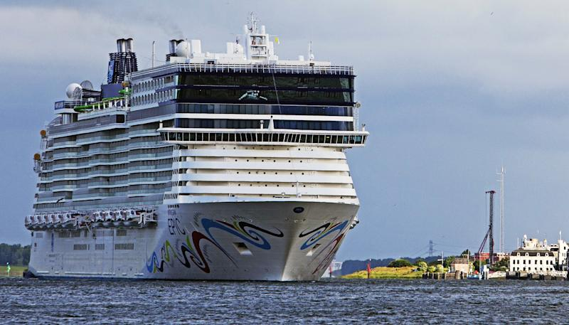 Photo of a Norwegian Epic ship after a woman fell overboard and couldn't be found.