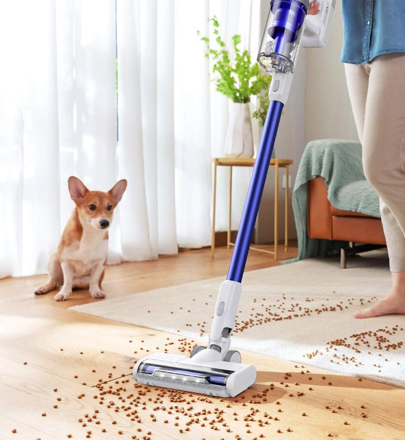 Even spilled dog food is no match for the Eufy HomeVac S11. (Photo: Amazon)
