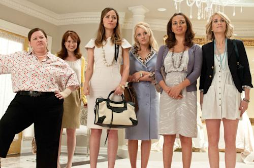 "In this publicity image provided by Universal Pictures, from left, Melissa McCarthy, Ellie Kemper, Rose Byrne, Wendi McLendon-Covey, Maya Rudolph and Kristen Wiig are shown in a scene from ""Bridesmaids."" ""Bridesmaids"" and ""The Hunger Games"" are battling for the most buckets of golden popcorn at the MTV Movie Awards. The raunchy comedy and survival saga are the top nominees at Sunday's 21st annual extravaganza with eight nods apiece. (AP Photo/Universal Pictures, Suzanne Hanover)"