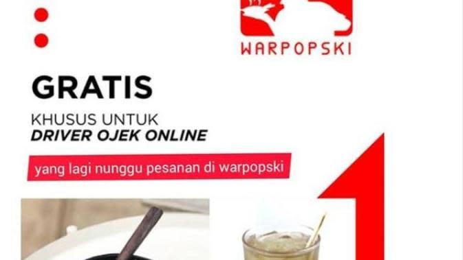 Warung di Jakarta Beri Makanan Gratis untuk Driver Ojol Selama WFH. (dok.Instagram @warpopski/https://www.instagram.com/p/B8BQy_UgiCK/Henry)