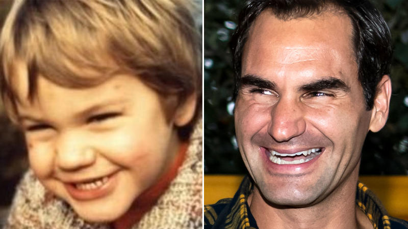 Roger Federer, pictured here in childhood and present day.