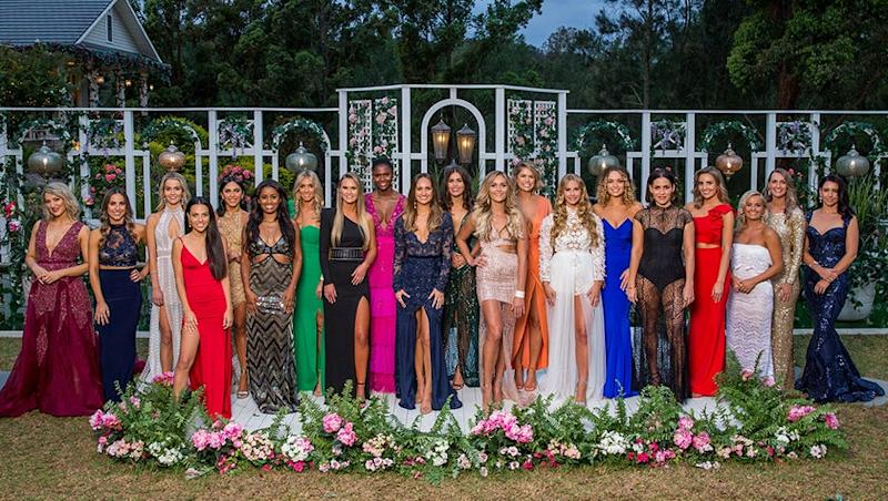 A photo of the 28 bachelorettes standing in the garden in episode one of The Bachelor Australia season 7 2019.