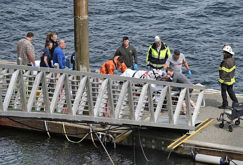Princess Cruises passenger lifted by emergency workers from the ocean after Alaska seaplane crash. Source: AAP