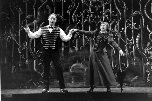 "FILE - This June 11, 1982 file photo shows Sid Caesar, left, and Imogene Coca practicing their soft shoe routine during a dress rehearsal in Boston for the Boston Opera Company's production ""Orpheus."" Caesar, whose sketches lit up 1950s television with zany humor, died Wednesday, Feb. 12, 2014. He was 91. (AP Photo/Marvin Lewiton, File)"
