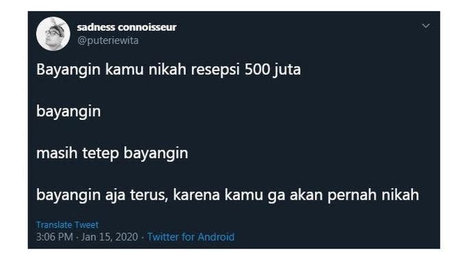 Cuitan Kocak Saat Bayangin 'Nikah 500 Juta' Ini Sukses Bikin Cengar Cengir (sumber:Twitter/@puteriewita)