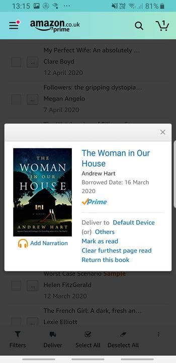 Screenshot of returning borrowed books on Amazon Kindle