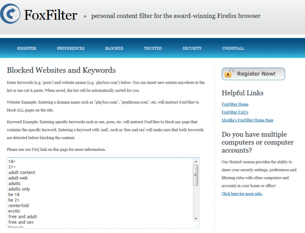 FoxFilter (Mozilla Firefox Extension)