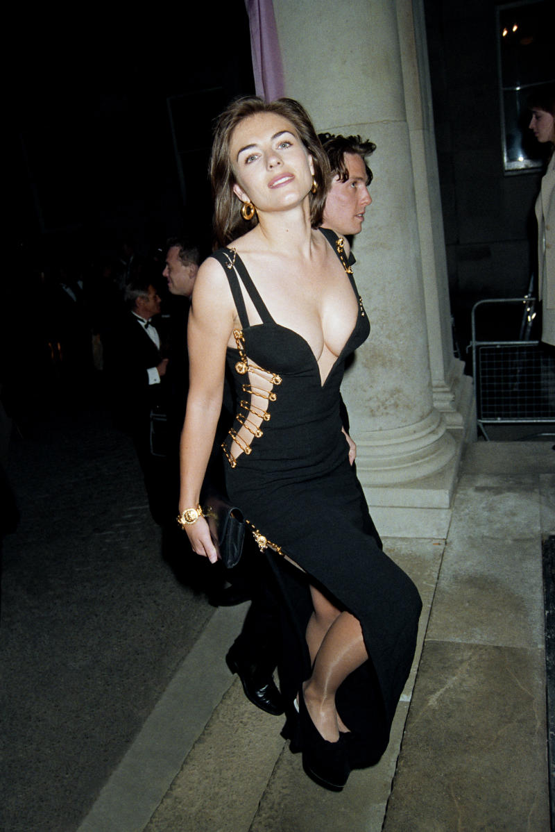64a8cdfaf8d Elizabeth Hurley recreates iconic safety pin dress that put her in ...