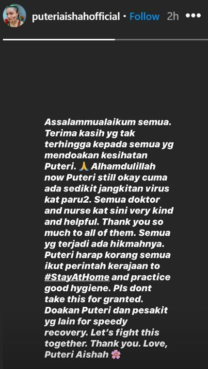 The 24-year-old reminds Malaysians to practise good hygiene and stay at home. — Screengrab from Instagram/Puteri Aishah