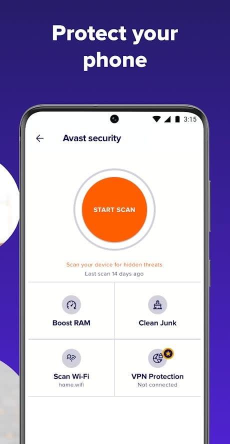 Screenshot of Avast Antivirus app with writing saying protect your phone