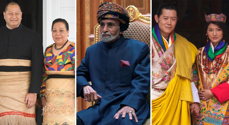 The monarchs (L-R) of Tonga, Qatar, and Bhutan. (Reuters/Getty)