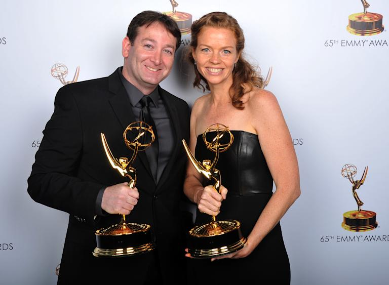 David Rogers, left, and Claire Scanlon pose for a portrait at the 2013 Primetime Creative Arts Emmy Awards, on Sunday, September 15, 2013 at Nokia Theatre L.A. Live, in Los Angeles, Calif. (Photo by Vince Bucci/Invision for Academy of Television Arts & Sciences/AP Images)