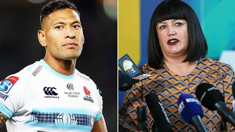 Israel Folau and RA boss Raelene Castle. Image: Getty