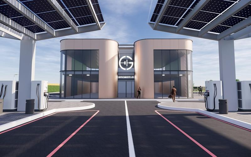 Gridserve electric car-only refuelling site - near Braintree, Essex - rendering
