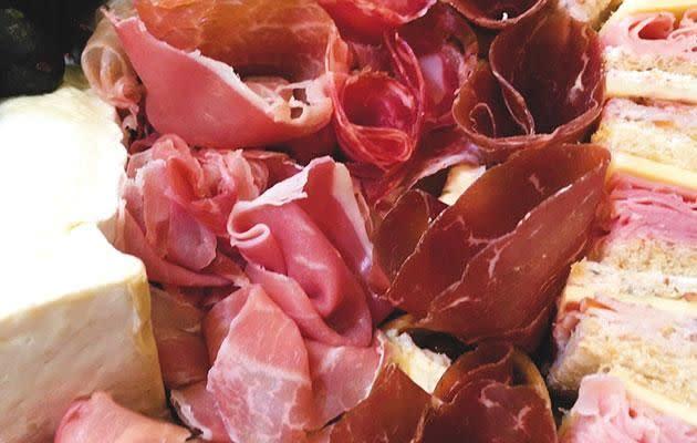 The antipasto platter includes deli meats Prosciutto, bresaola, truffle salami, and soppressata (mild and hot) Photo: Be