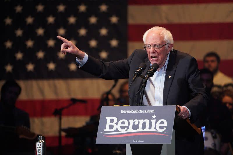 U.S. Democratic presidential candidate Senator Sanders speaks during a rally in Cedar Rapids