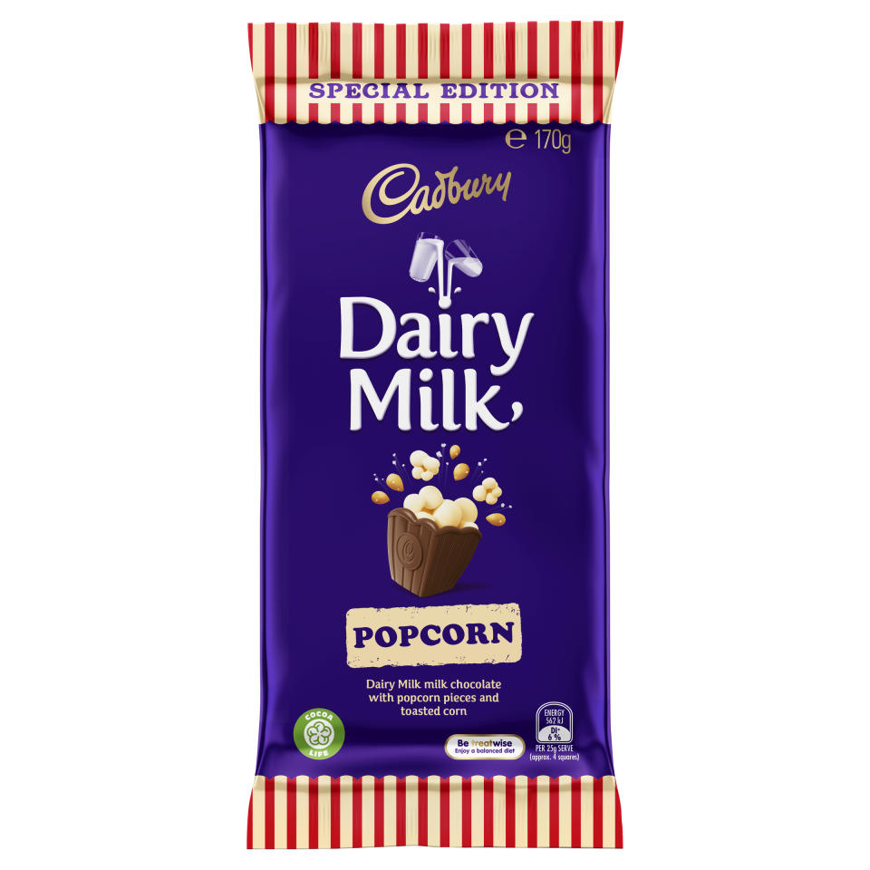 """<p>Aptly named Cadbury Dairy Milk Popcorn, the treat is """"a sweet, salty and crunchy combination with a smooth and creamy milk chocolate, popcorn pieces and crunchy toasted corn kernels"""", the company announced today.<br />Photo: Cadbury </p>"""