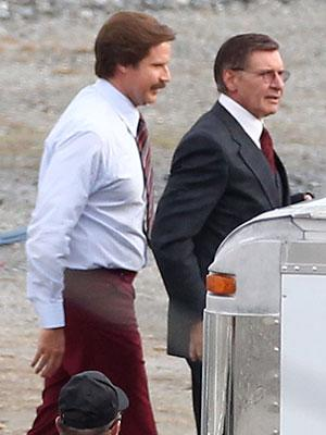 You've got the look: Harrison Ford and Paul Rudd get in character for 'Anchorman 2′