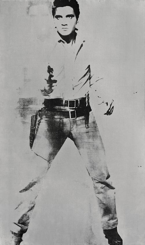 "FILE - This undated image provided by Sotheby's shows Andy Warhol's portrait of Elvis Presley depicted as a cowboy. The painting, with a silver background, ""Double Elvis [Ferus Type]"" is estimated to sell for between $30 million to $50 million at Sotheby's in New York on Wednesday May 9, 2012. (AP Photo/Sotheby's, File)"