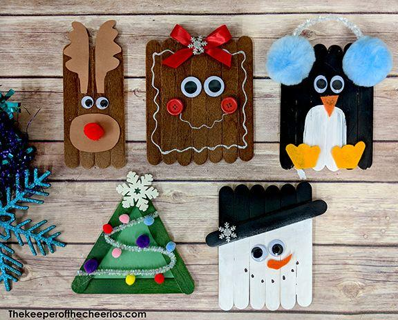 "<p>Kids as young as preschoolers can make these cute wintertime characters using craft sticks. Customize them with simple supplies like buttons, googly eyes, pompoms, and paint.</p><p><em><a href=""https://www.thekeeperofthecheerios.com/2018/11/christmas-craft-sticks.html"" target=""_blank"">Get the tutorial at The Keeper of the Cheerios</a></em><em>»</em><em><br></em></p>"