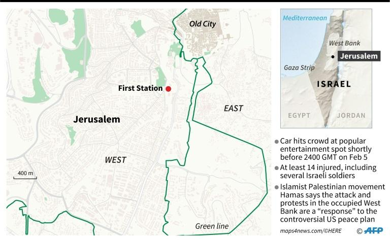 Location of First Station, an entertainment spot in Jerusalem, where a car hit a crowd shortly before 2400 GMT on February 5
