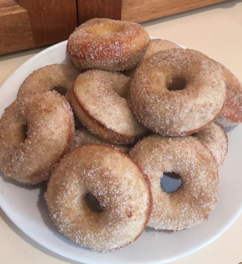 Cinnamon doughnuts made with Aldi tray