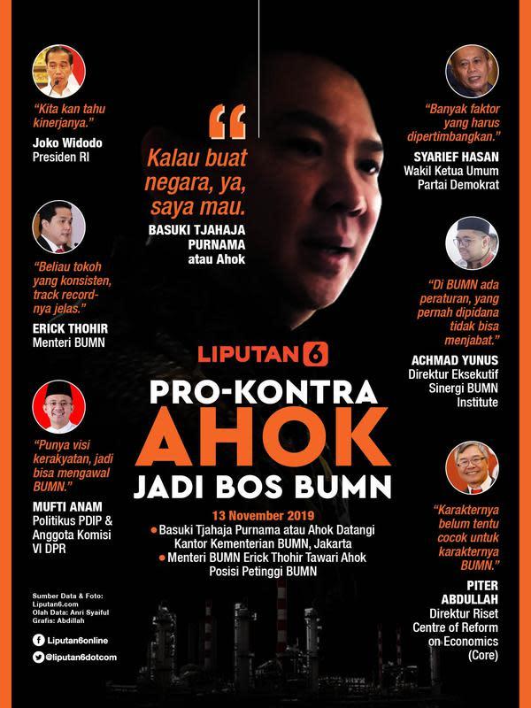 Infografis Pro-Kontra Ahok Jadi Bos BUMN. (Liputan6.com/Abdillah)