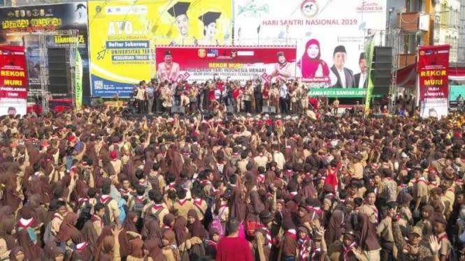 Lewat Tari, Pramuka Bandar Lampung Pecahkan Rekor Muri dan Dunia