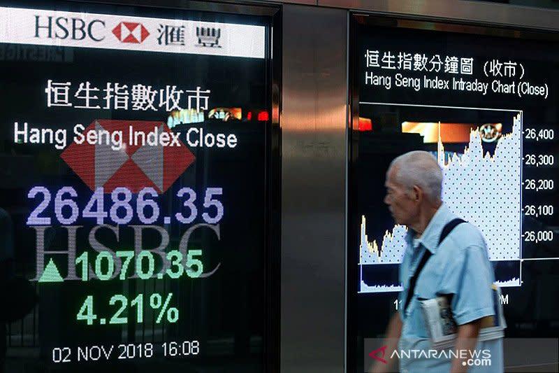 Saham Hong Kong hentikan kenaikan, indeks HSI turun 0,03 persen
