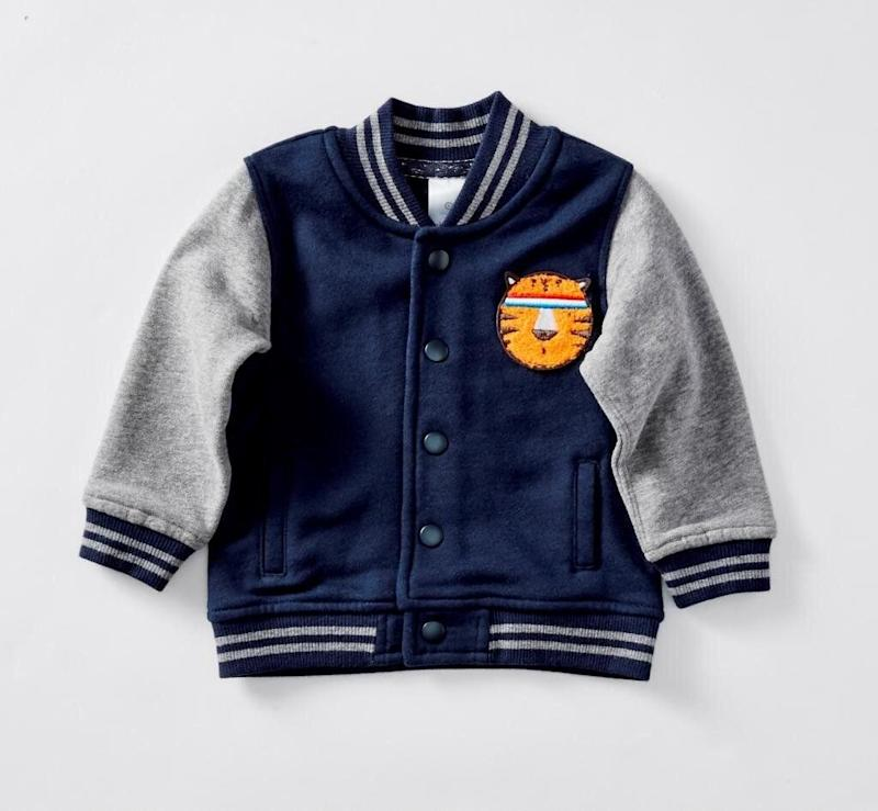 Photo of the Target Fleece Letterman Jacket that was recalled due to choking risks.
