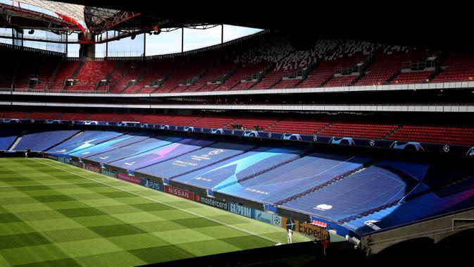 Foto yang diabadikan pada 10 Agustus 2020 ini memperlihatkan pemandangan Stadion da Luz di Lisbon, Portugal, dua hari jelang pertandingan perempat final Liga Champions UEFA. (Xinhua/Pedro Fiuza)