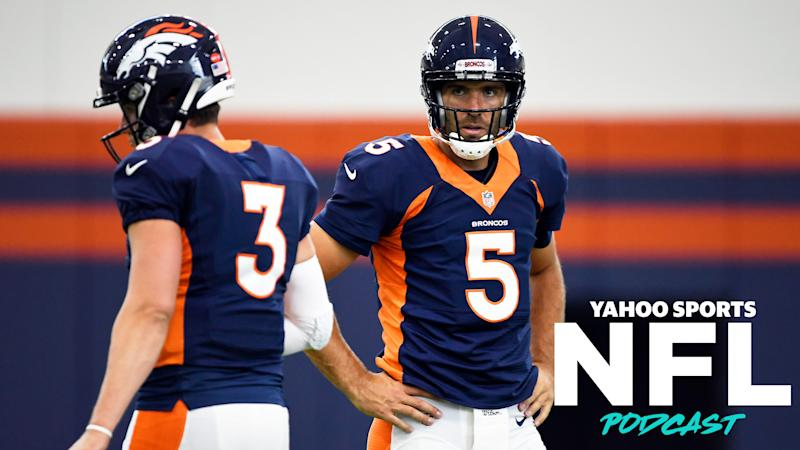 The QB battle between Drew Lock and Joe Flacco is among the many training camp topics covered by Terez Paylor and Charles Robinson on the latest Yahoo Sports NFL Podcast. (Photo by Joe Amon/MediaNews Group/The Denver Post via Getty Images)