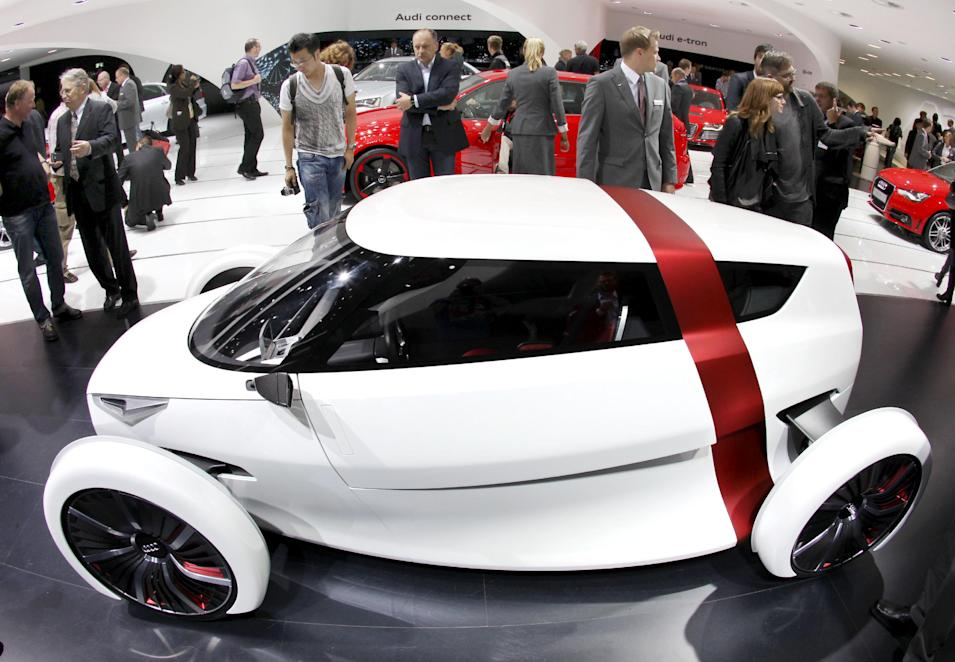 The Audi Urban concept car is presented at the 64th Frankfurt Auto Show in Frankfurt, Germany, Wednesday, Sept. 14, 2011. (AP Photo/Michael Probst)