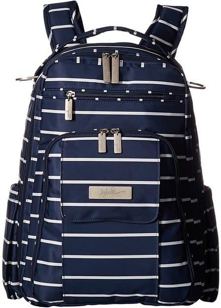 "<p>The <a href=""https://www.popsugar.com/buy/Ju-Ju--Coastal-Right-Back-Backpack-Diaper-Bag-329846?p_name=Ju-Ju-Be%20Coastal%20Be%20Right%20Back%20Backpack%20Diaper%20Bag&retailer=amazon.com&pid=329846&price=146&evar1=moms%3Aus&evar9=44483623&evar98=https%3A%2F%2Fwww.popsugar.com%2Ffamily%2Fphoto-gallery%2F44483623%2Fimage%2F44483719%2FJu-Ju--Coastal-Right-Back-Backpack-Diaper-Bag&list1=zappos%2Cdiaper%20bags%2Cbaby%20showers%2Cbaby%20shower%20gifts%2Cmom%20shopping%2Cbaby%20shopping&prop13=mobile&pdata=1"" rel=""nofollow"" data-shoppable-link=""1"" target=""_blank"" rel=""nofollow"" class=""ga-track"" data-ga-category=""Related"" data-ga-label=""https://www.amazon.com/Ju-Ju-Be-Right-Backpack-Diaper-Nantucket/dp/B01MR4J6SH/ref=sr_1_7_s_it?s=baby-products&amp;ie=UTF8&amp;qid=1527175019&amp;sr=1-7&amp;keywords=Ju-Ju-Be++Backpack+Diaper+Bag"" data-ga-action=""In-Line Links"">Ju-Ju-Be Coastal Be Right Back Backpack Diaper Bag</a> ($146) has distinct nautical vibes.</p>"