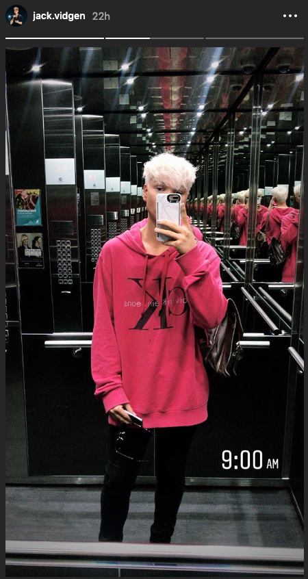 The Voice star Jack Vidgen shares an elevator selfie of his hair transformation
