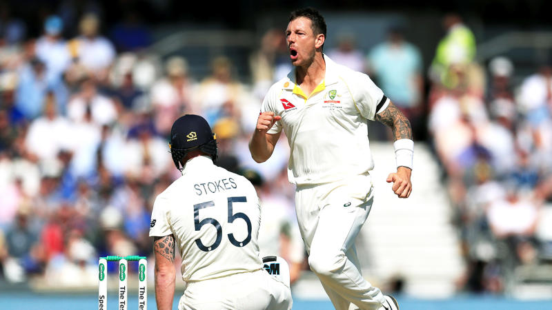 Australia's James Pattinson (right) celebrates taking the wicket of England's Ben Stokes during day two of the third Ashes Test match at Headingley, Leeds. (Photo by Mike Egerton/PA Images via Getty Images)